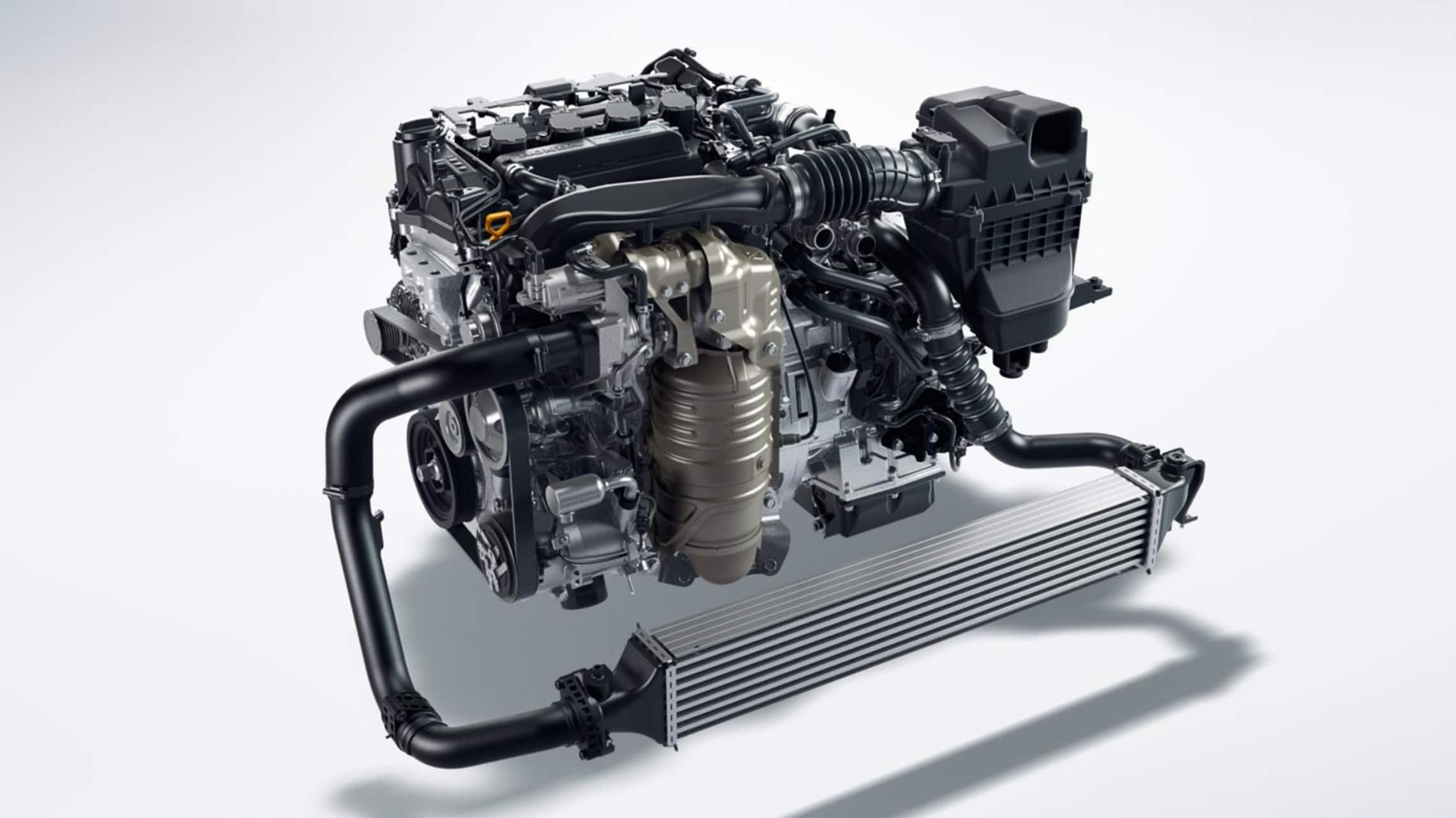1.5-liter turbocharged engine detail in the 2021 Honda Civic Hatchback.