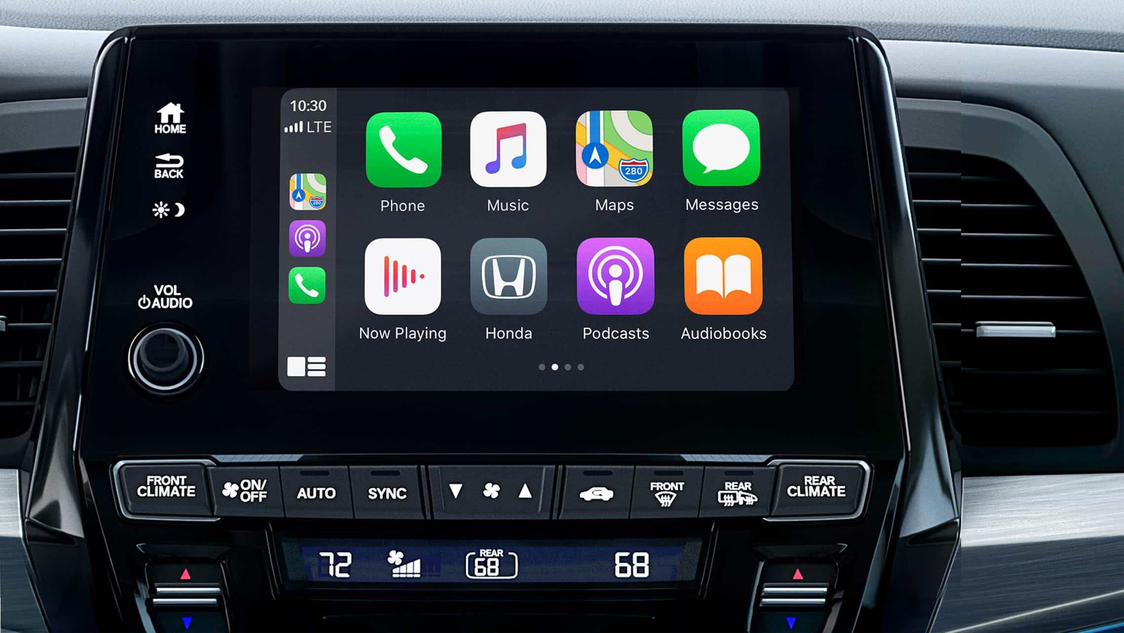 Apple CarPlay® detail on Display Audio touch-screen in the 2021 Honda Odyssey Elite with Gray Leather.